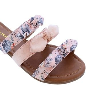 Pink Strap Floral Print Knotted Bow Slides Sandals